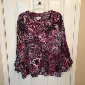 Long Sleeve Blouse With Ruffled Collar and Sleeve.